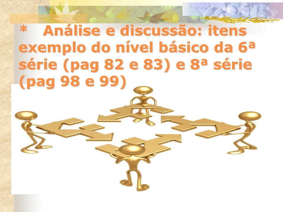 * Análise e discussão: itens exemplo do nível básico da 6ª série (pag 82 e 83) e 8ª série (pag 98 e 99)