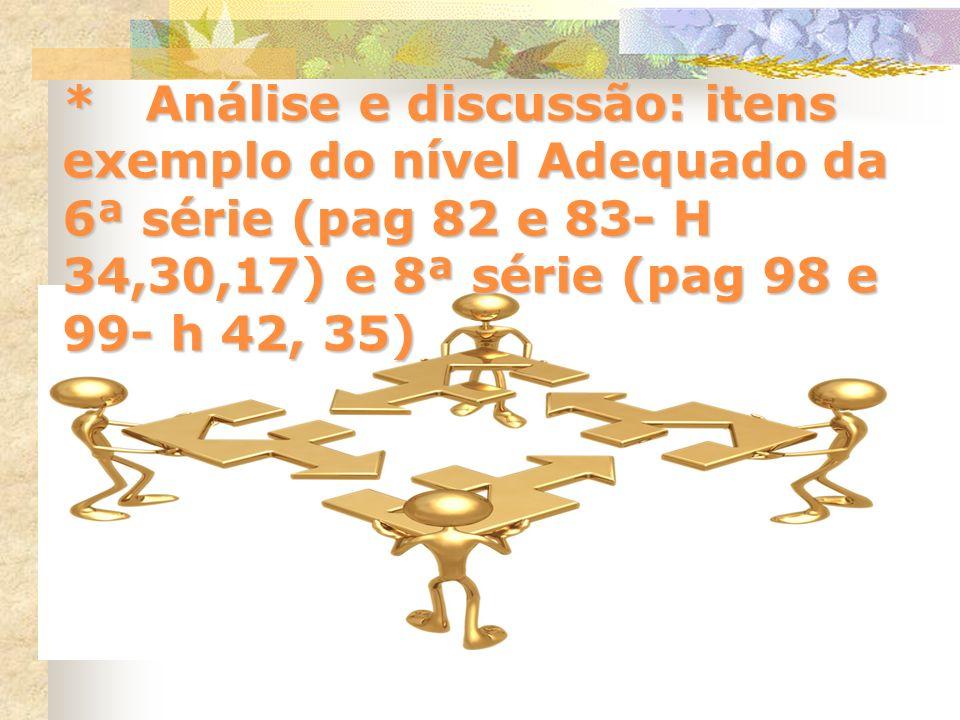 * Análise e discussão: itens exemplo do nível Adequado da 6ª série (pag 82 e 83- H 34,30,17) e 8ª série (pag 98 e 99- h 42, 35)