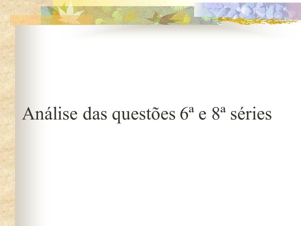 Análise das questões 6ª e 8ª séries
