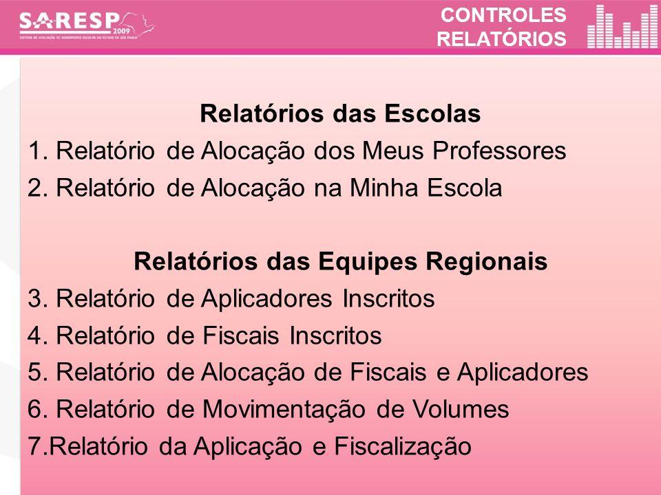 Relatórios das Escolas Relatórios das Equipes Regionais