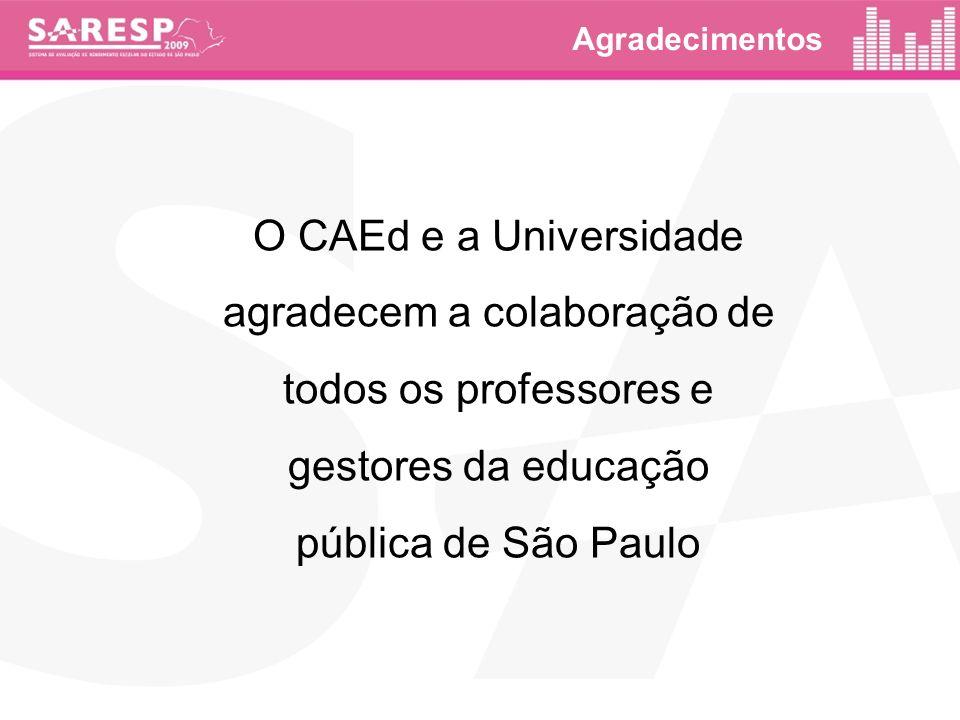 Agradecimentos O CAEd e a Universidade agradecem a colaboração de todos os professores e gestores da educação pública de São Paulo.