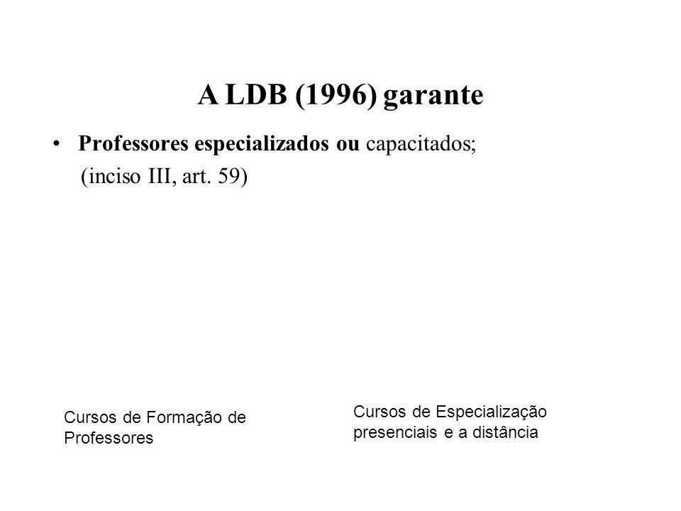 A LDB (1996) garante Professores especializados ou capacitados;