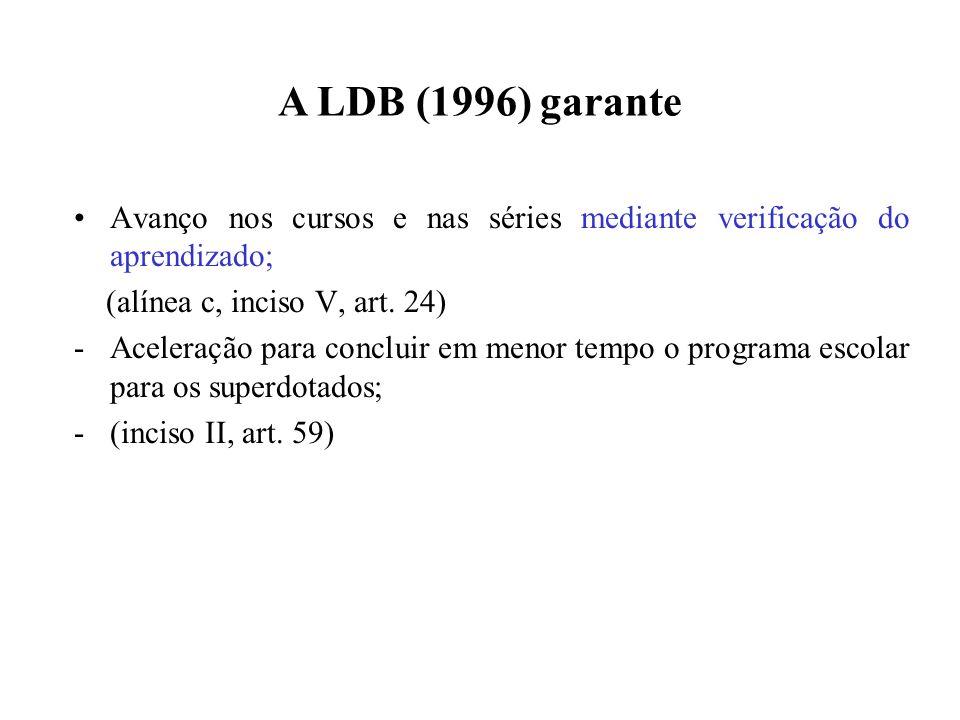 A LDB (1996) garante Avanço nos cursos e nas séries mediante verificação do aprendizado; (alínea c, inciso V, art. 24)