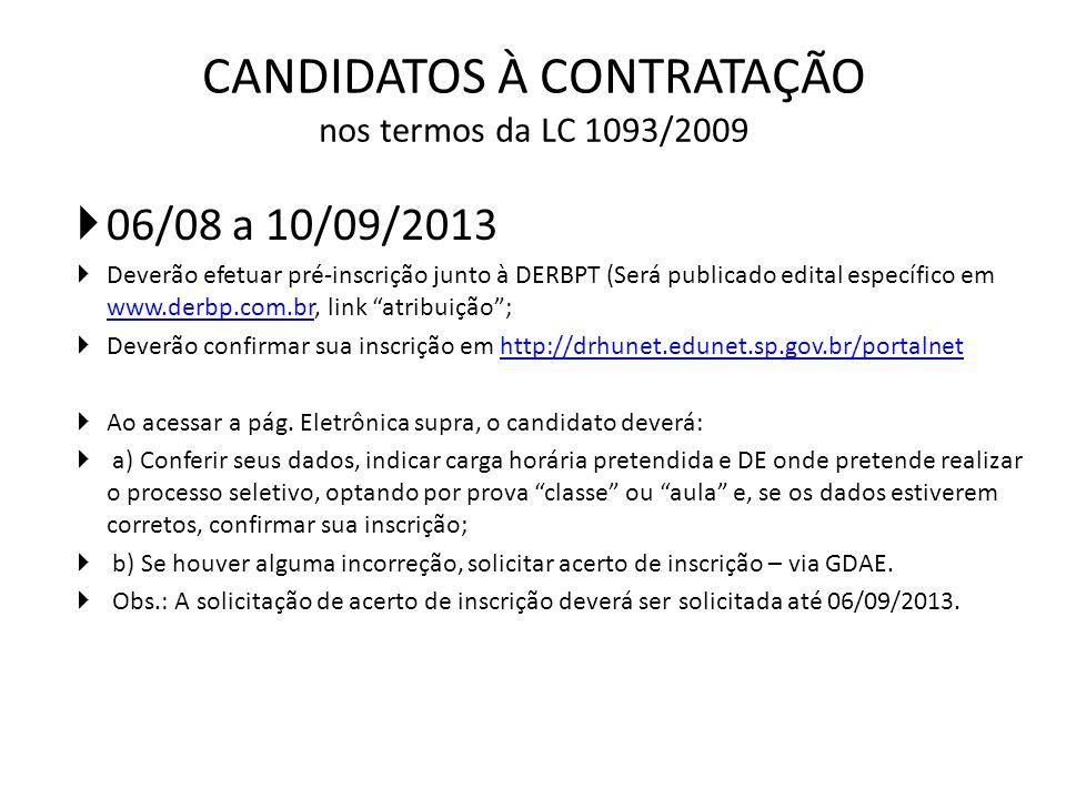 CANDIDATOS À CONTRATAÇÃO nos termos da LC 1093/2009