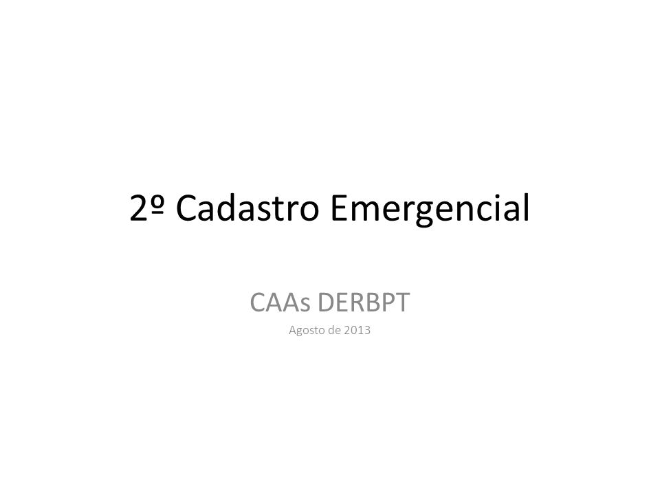 2º Cadastro Emergencial