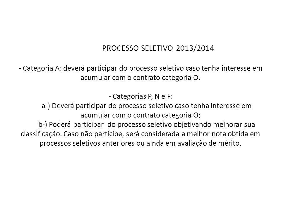 PROCESSO SELETIVO 2013/2014 - Categoria A: deverá participar do processo seletivo caso tenha interesse em acumular com o contrato categoria O.