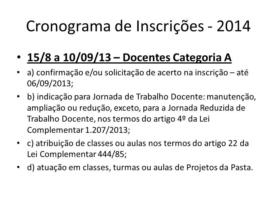 Cronograma de Inscrições - 2014