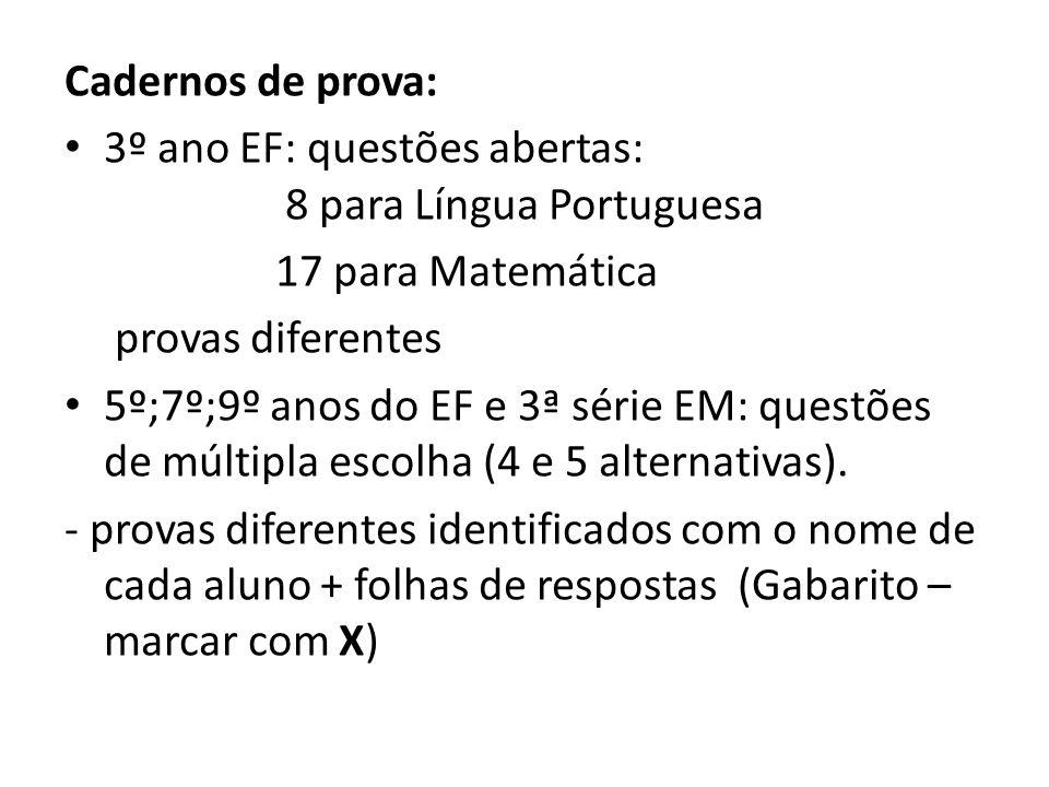 Cadernos de prova:3º ano EF: questões abertas: 8 para Língua Portuguesa. 17 para Matemática.