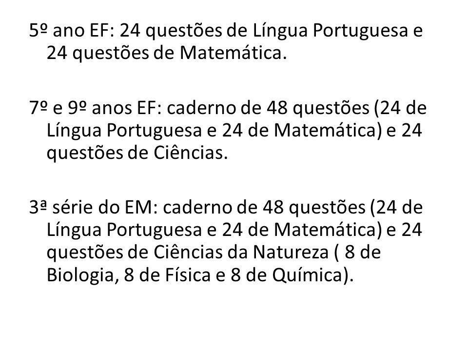 5º ano EF: 24 questões de Língua Portuguesa e 24 questões de Matemática.
