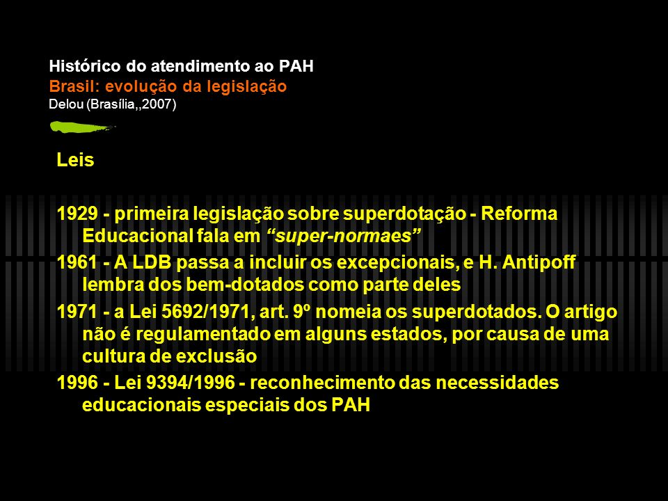Histórico do atendimento ao PAH Brasil: evolução da legislação Delou (Brasília,,2007)