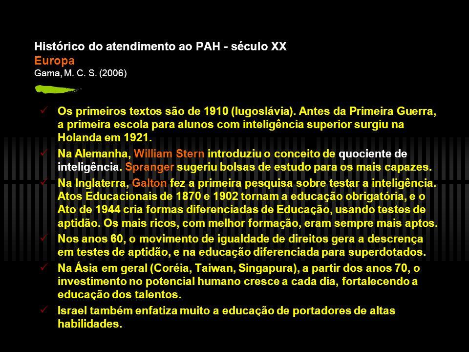 Histórico do atendimento ao PAH - século XX Europa Gama, M. C. S