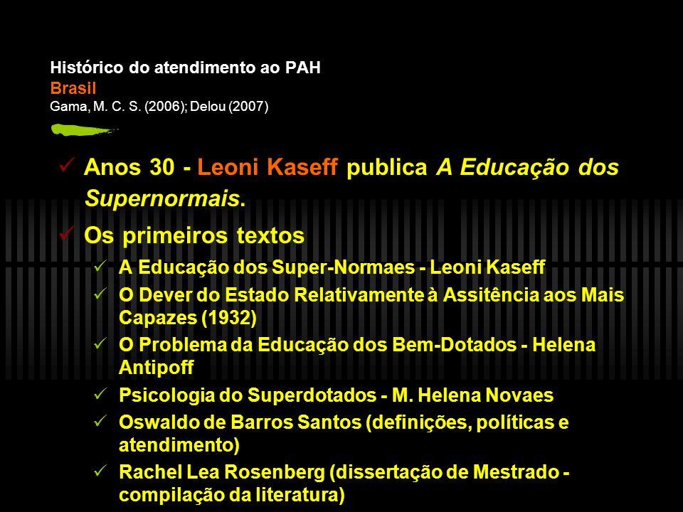 Anos 30 - Leoni Kaseff publica A Educação dos Supernormais.