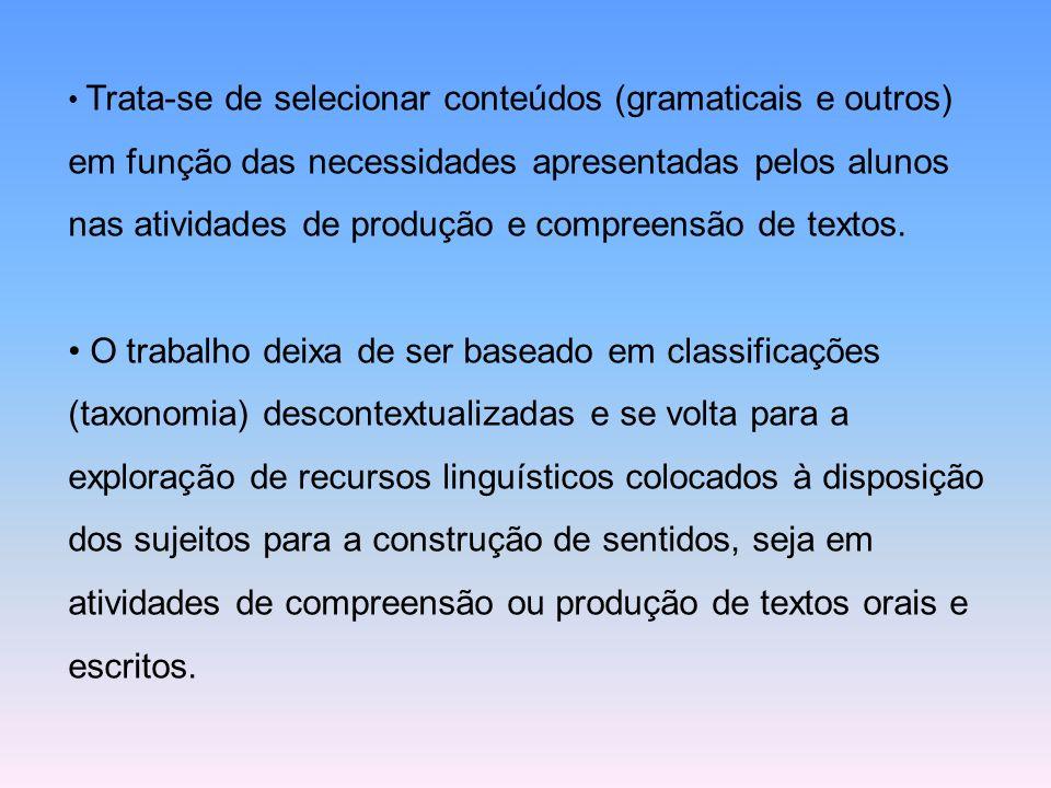 Trata-se de selecionar conteúdos (gramaticais e outros) em função das necessidades apresentadas pelos alunos nas atividades de produção e compreensão de textos.