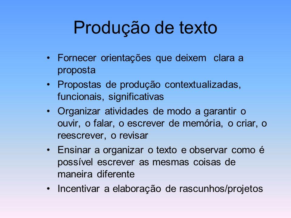 Produção de texto Fornecer orientações que deixem clara a proposta