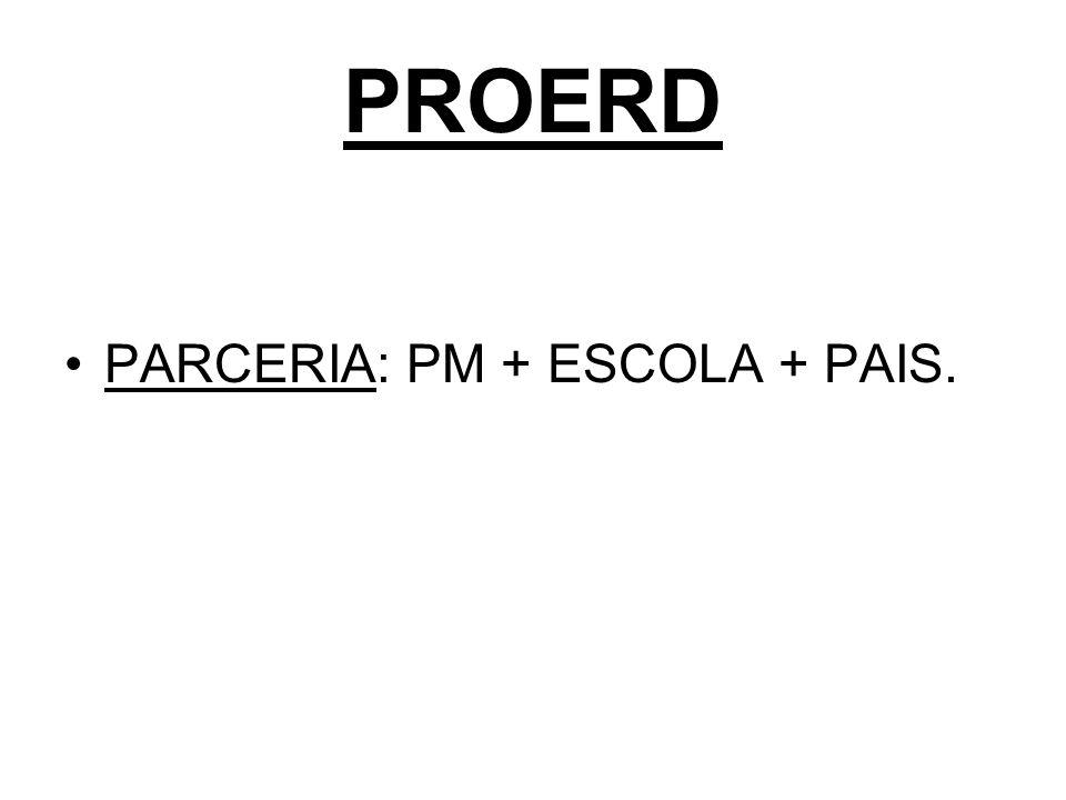 PROERD PARCERIA: PM + ESCOLA + PAIS.