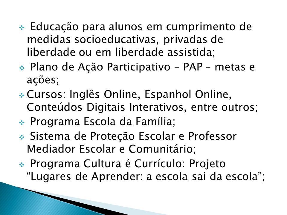 Educação para alunos em cumprimento de medidas socioeducativas, privadas de liberdade ou em liberdade assistida;