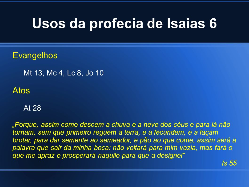 Usos da profecia de Isaias 6