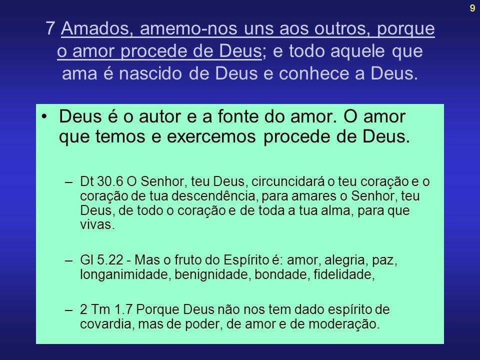 7 Amados, amemo-nos uns aos outros, porque o amor procede de Deus; e todo aquele que ama é nascido de Deus e conhece a Deus.