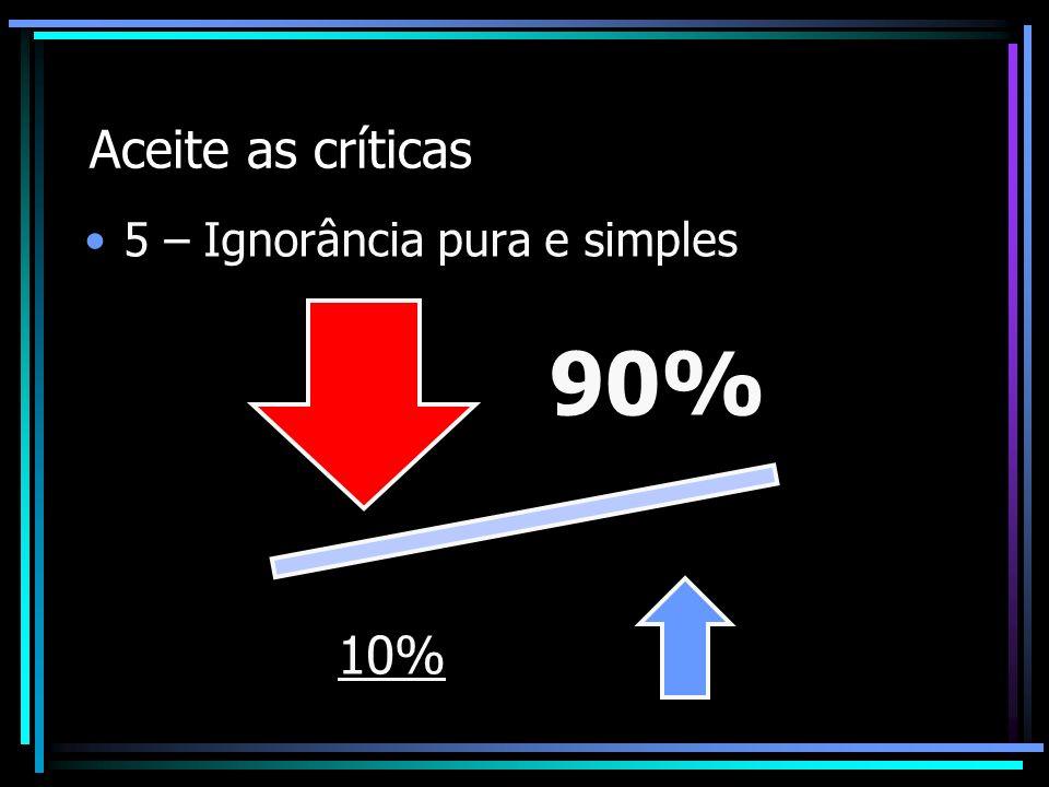 Aceite as críticas 5 – Ignorância pura e simples 90% 10%