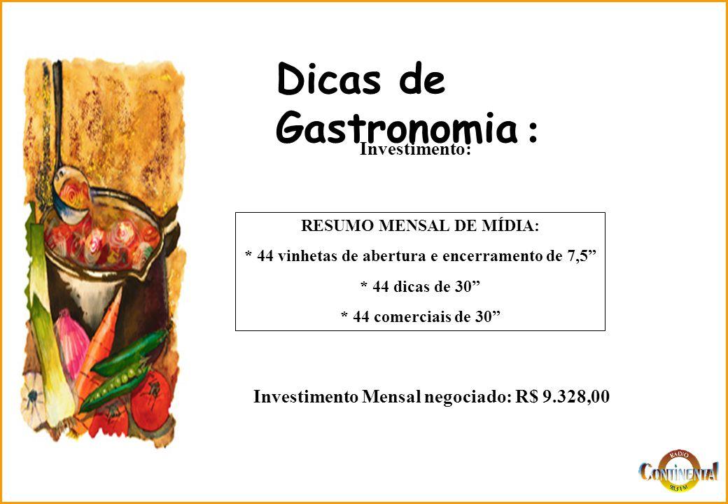 Dicas de Gastronomia : Investimento: