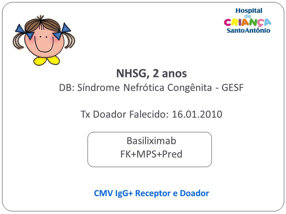 NHSG, 2 anos DB: Síndrome Nefrótica Congênita - GESF Tx Doador Falecido: 16.01.2010