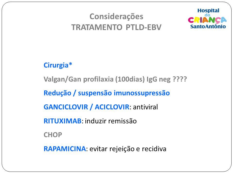 Considerações TRATAMENTO PTLD-EBV