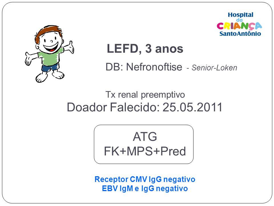 LEFD, 3 anos DB: Nefronoftise - Senior-Loken Tx renal preemptivo Doador Falecido: 25.05.2011 ATG FK+MPS+Pred Receptor CMV IgG negativo EBV IgM e IgG negativo