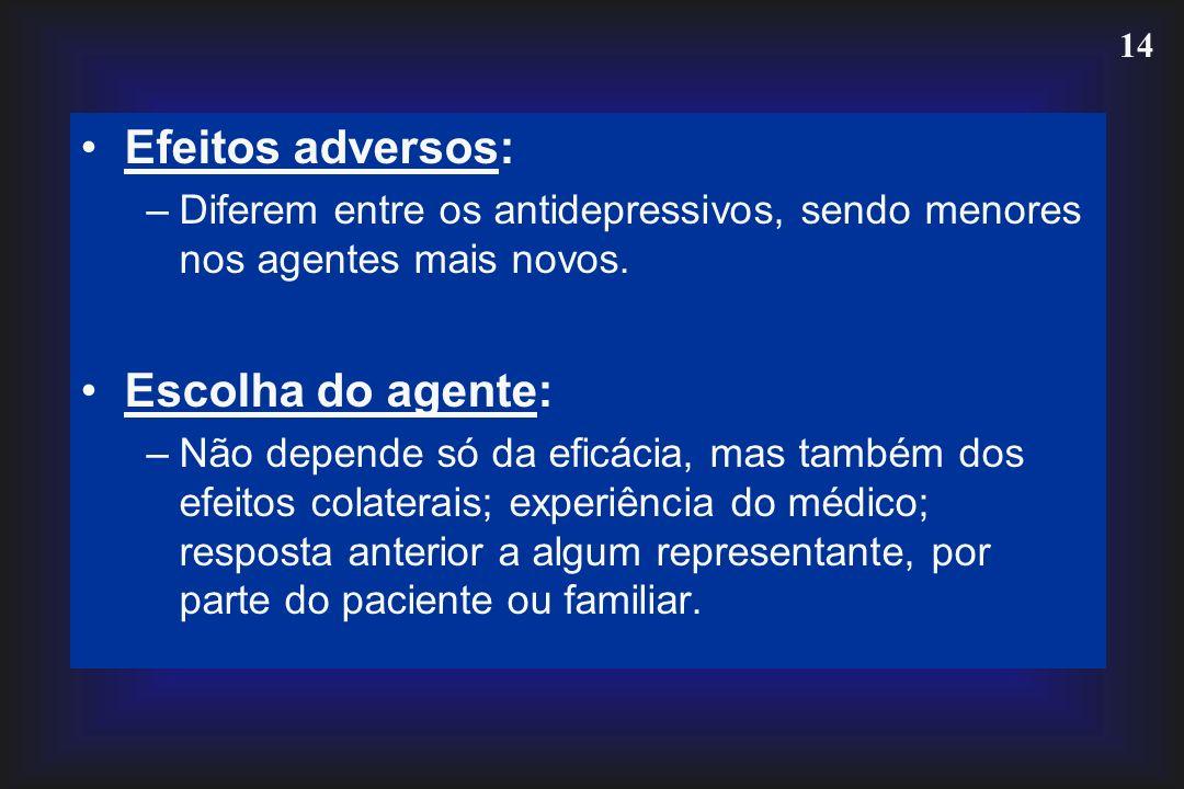 Efeitos adversos: Escolha do agente:
