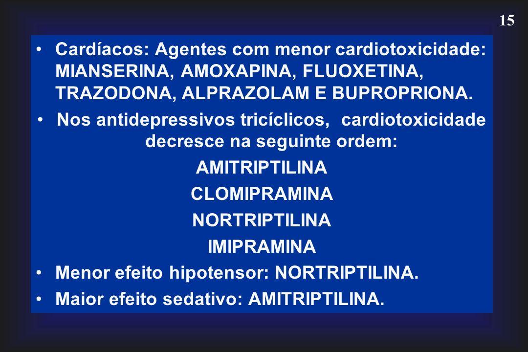 Cardíacos: Agentes com menor cardiotoxicidade: MIANSERINA, AMOXAPINA, FLUOXETINA, TRAZODONA, ALPRAZOLAM E BUPROPRIONA.