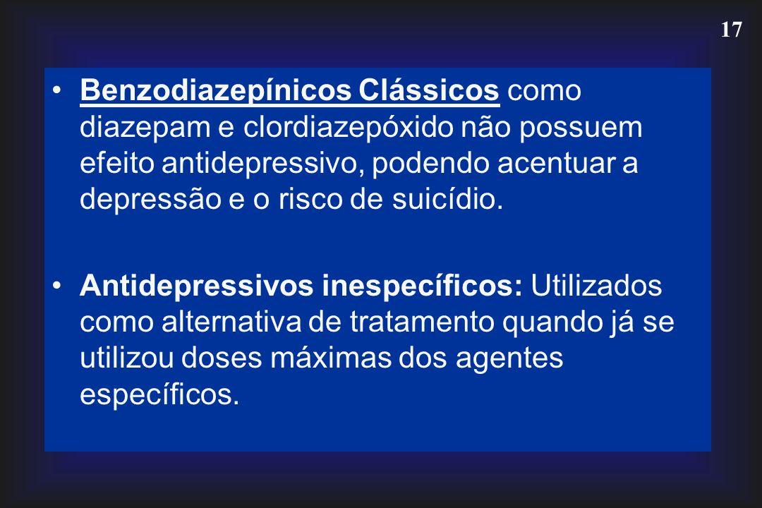Benzodiazepínicos Clássicos como diazepam e clordiazepóxido não possuem efeito antidepressivo, podendo acentuar a depressão e o risco de suicídio.