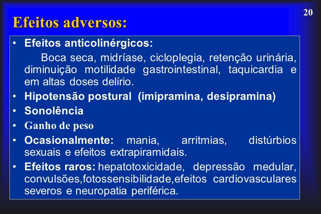 Efeitos adversos: Efeitos anticolinérgicos: