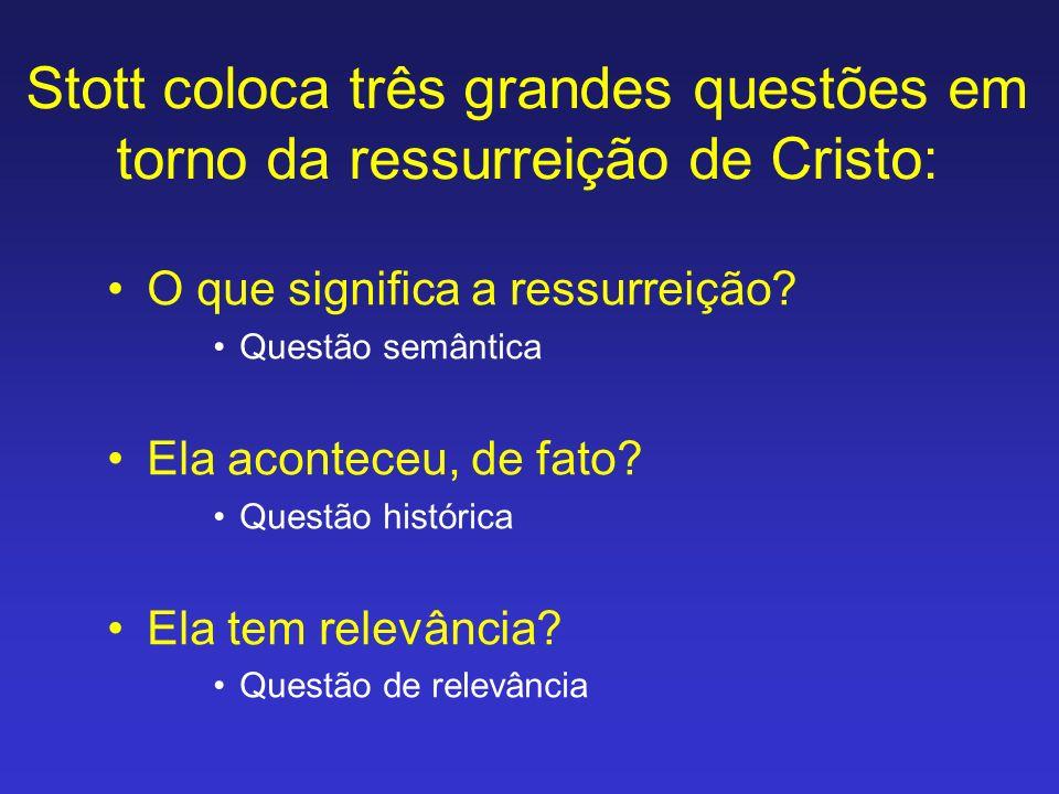Stott coloca três grandes questões em torno da ressurreição de Cristo: