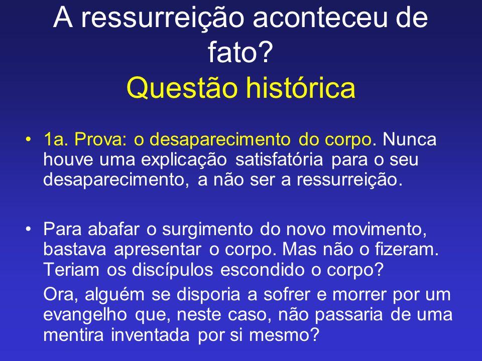 A ressurreição aconteceu de fato Questão histórica