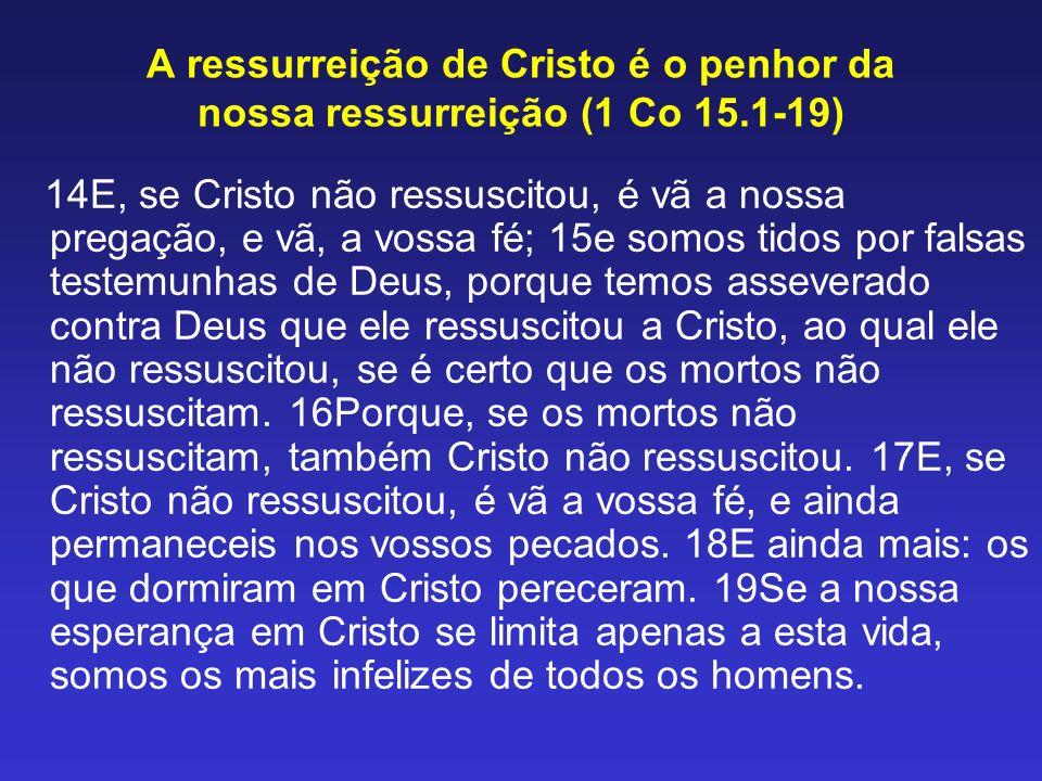 A ressurreição de Cristo é o penhor da nossa ressurreição (1 Co 15