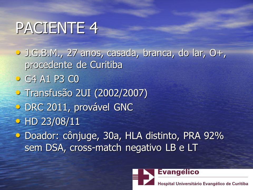 PACIENTE 4 J.G.B.M., 27 anos, casada, branca, do lar, O+, procedente de Curitiba. G4 A1 P3 C0. Transfusão 2UI (2002/2007)
