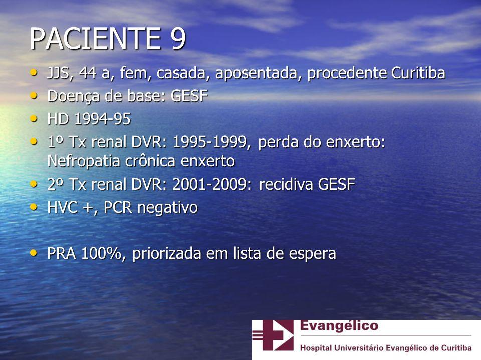 PACIENTE 9 JJS, 44 a, fem, casada, aposentada, procedente Curitiba