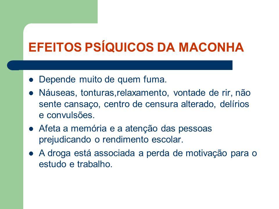 EFEITOS PSÍQUICOS DA MACONHA