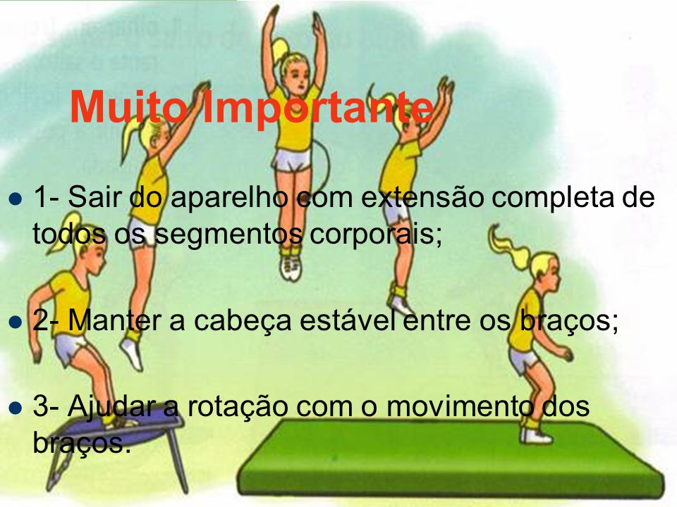 Muito Importante 1- Sair do aparelho com extensão completa de todos os segmentos corporais; 2- Manter a cabeça estável entre os braços;