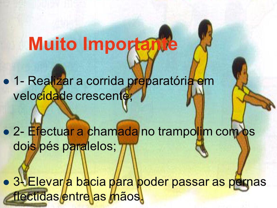 Muito Importante 1- Realizar a corrida preparatória em velocidade crescente; 2- Efectuar a chamada no trampolim com os dois pés paralelos;