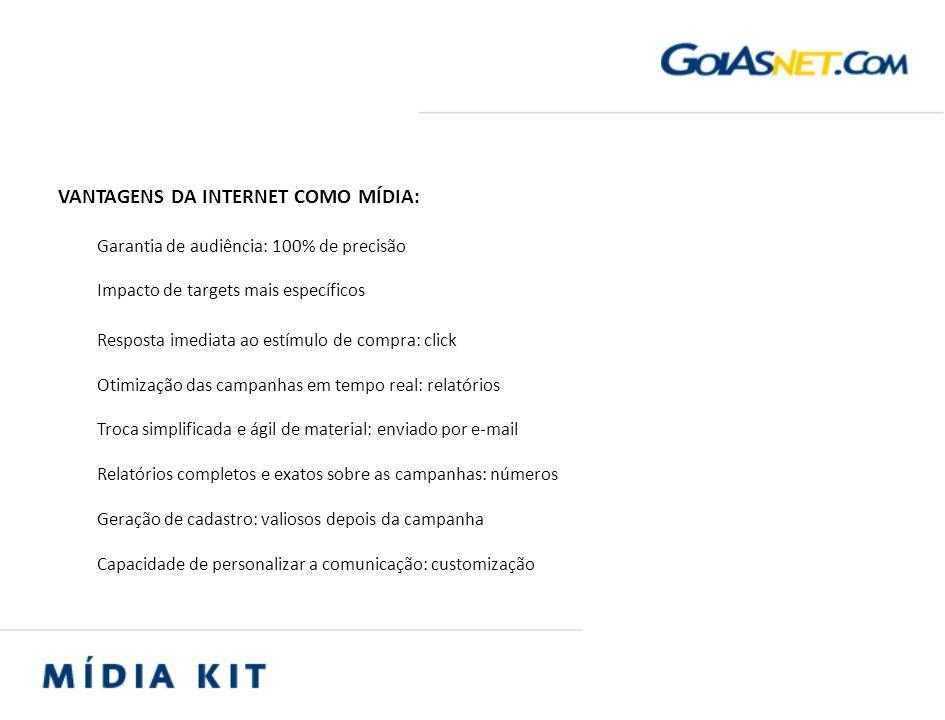 VANTAGENS DA INTERNET COMO MÍDIA: Garantia de audiência: 100% de precisão Impacto de targets mais específicos