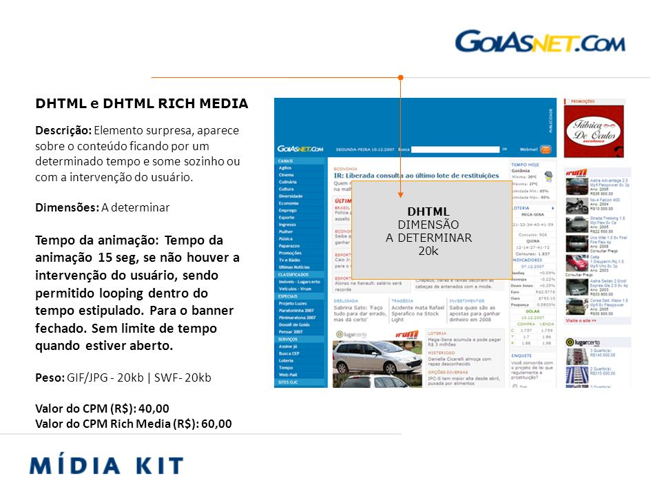 Valor do CPM Rich Media (R$): 60,00 DHTML e DHTML RICH MEDIA