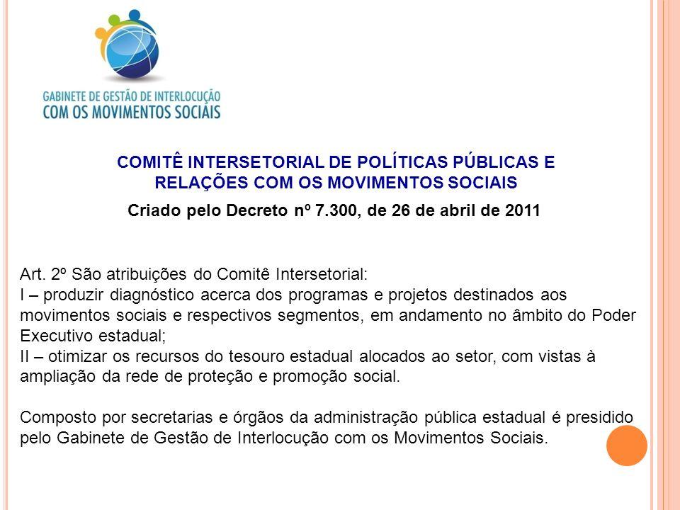COMITÊ INTERSETORIAL DE POLÍTICAS PÚBLICAS E