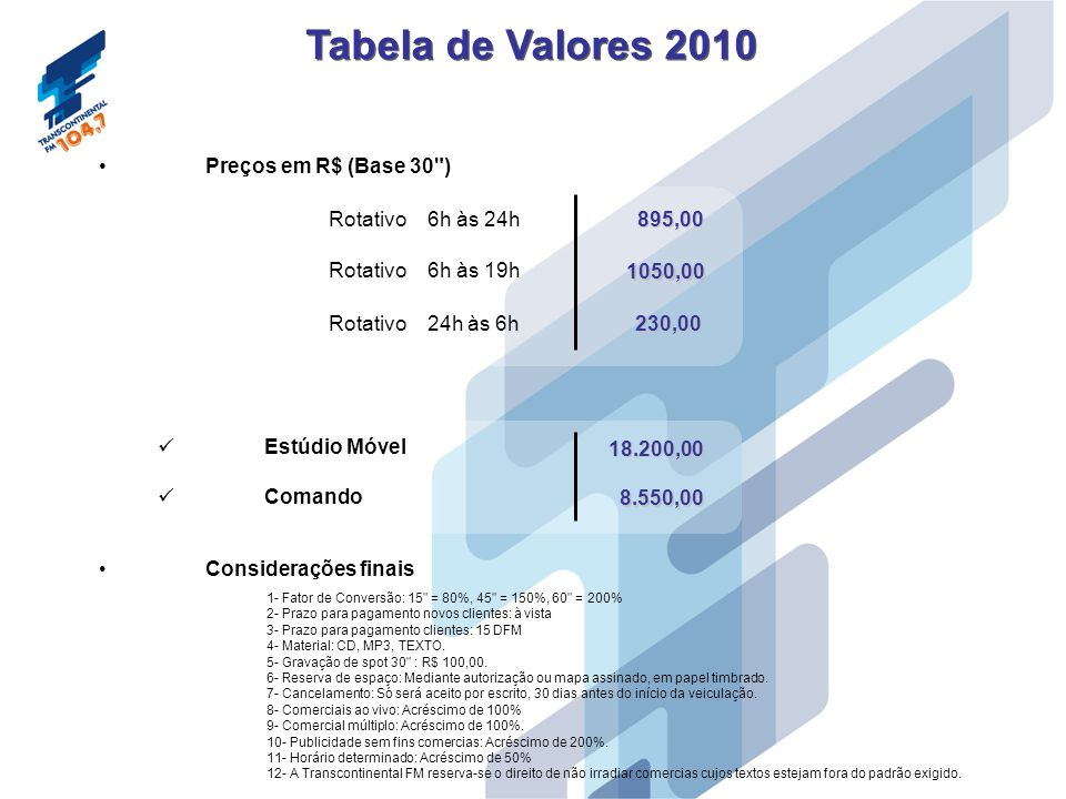 Tabela de Valores 2010 Preços em R$ (Base 30 ) Rotativo 6h às 24h