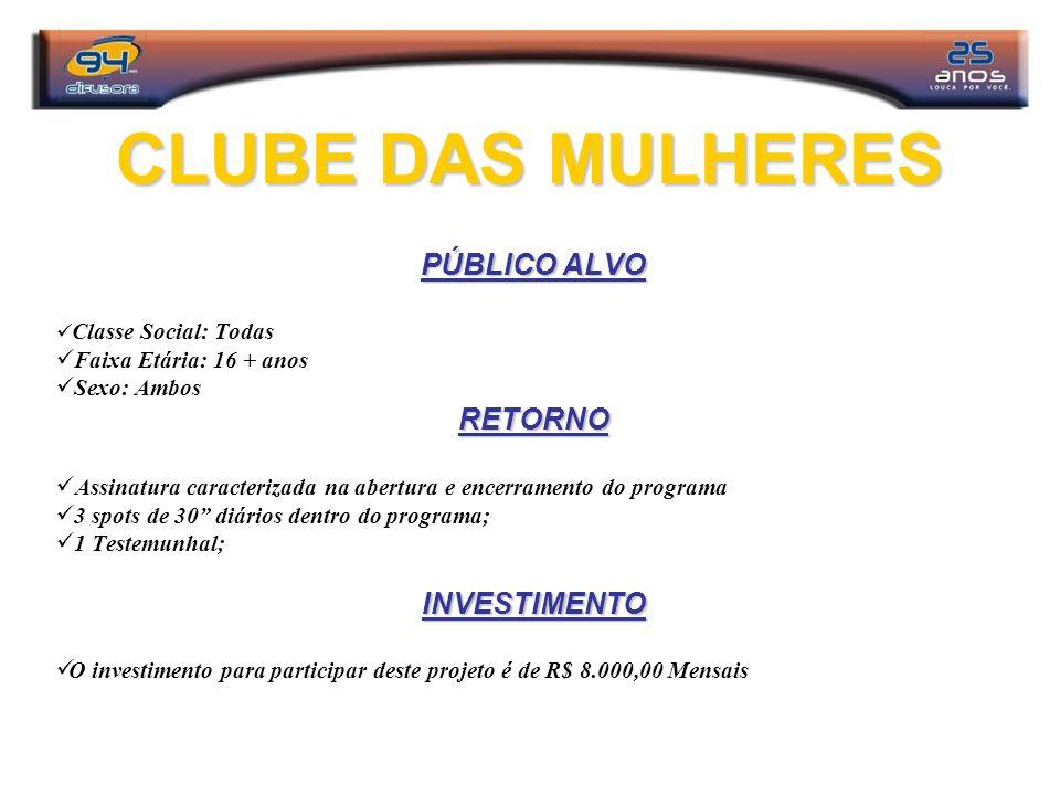 CLUBE DAS MULHERES PÚBLICO ALVO RETORNO INVESTIMENTO