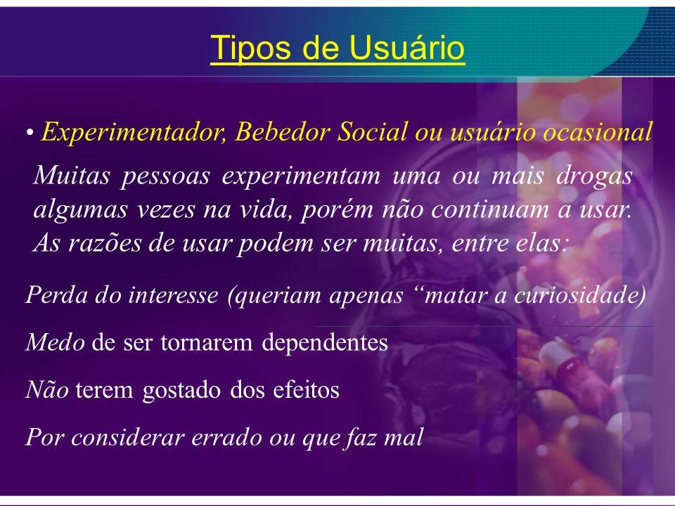 Tipos de Usuário Experimentador, Bebedor Social ou usuário ocasional.