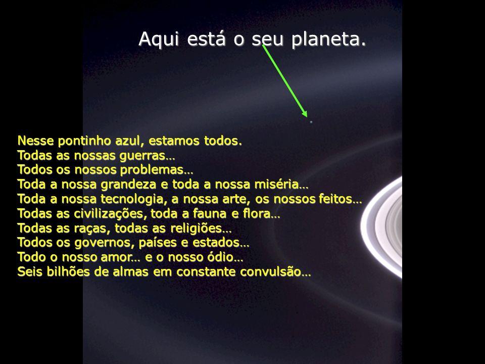 Aqui está o seu planeta. Nesse pontinho azul, estamos todos.