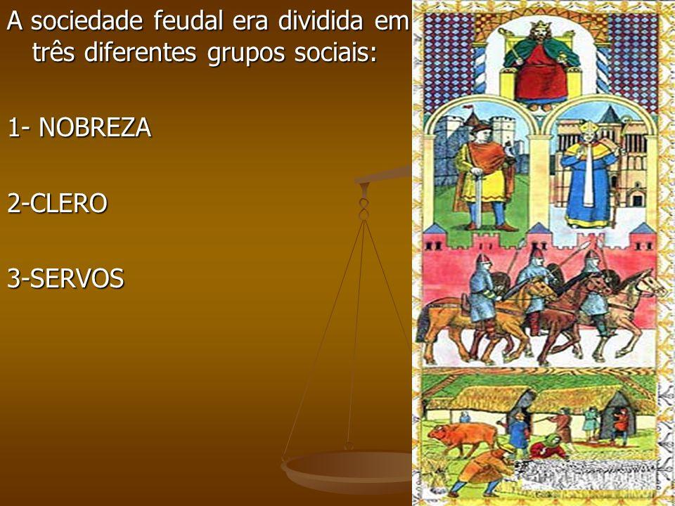 A sociedade feudal era dividida em três diferentes grupos sociais: