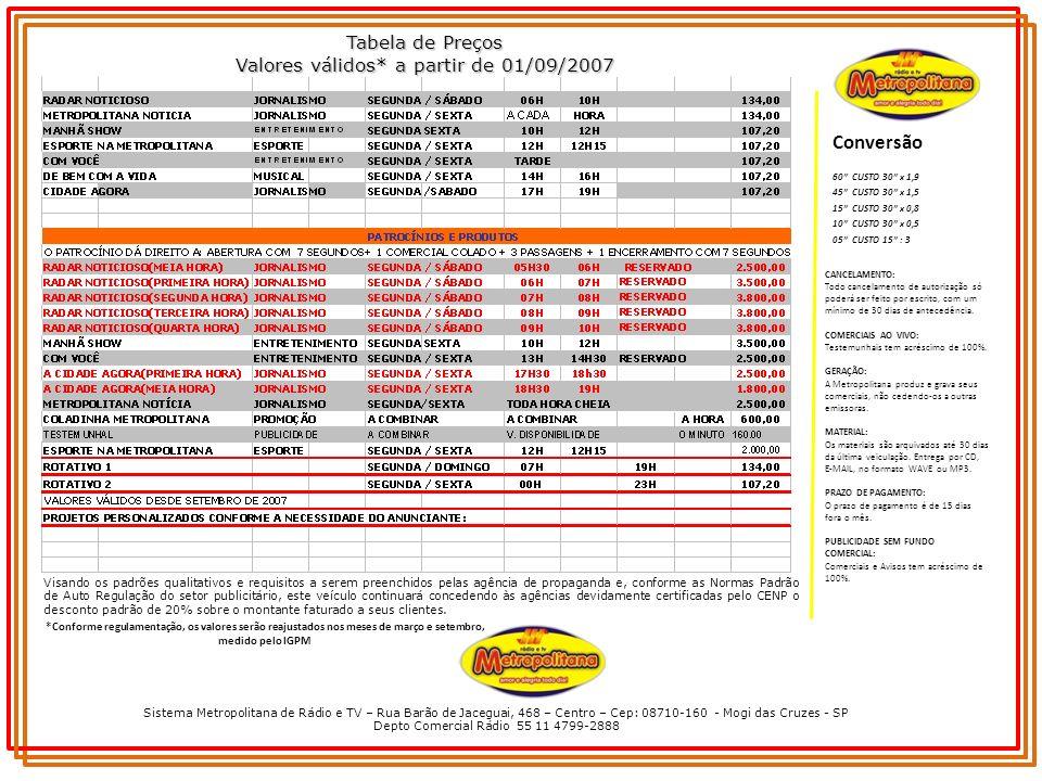 Conversão Tabela de Preços Valores válidos* a partir de 01/09/2007