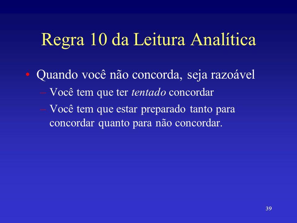 Regra 10 da Leitura Analítica