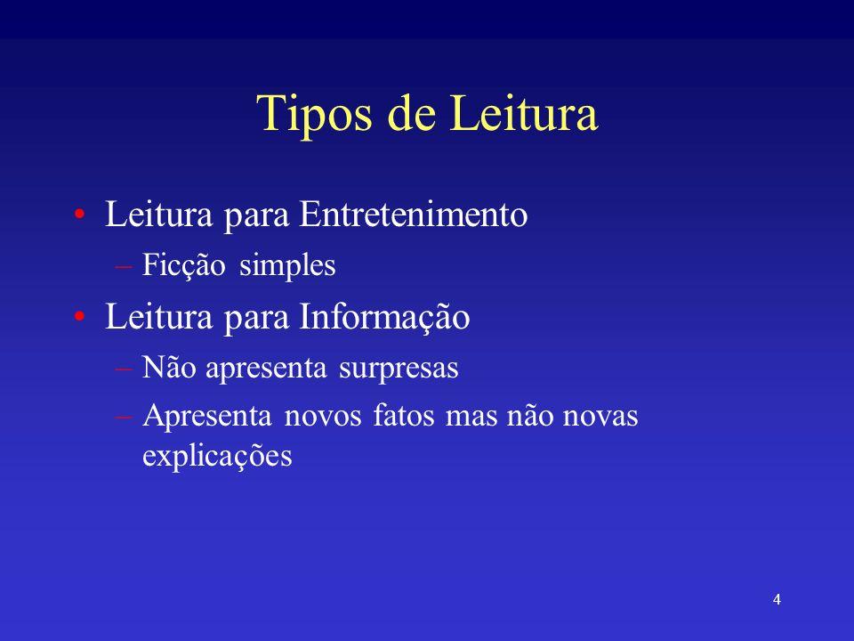 Tipos de Leitura Leitura para Entretenimento Leitura para Informação